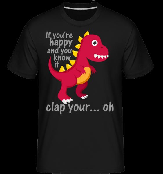 T-Rex Clap Vy Hands -  Shirtinator tričko pre pánov - Čierna1 - Predné