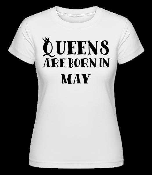 Queens sa rodia v máji -  Shirtinator tričko pre dámy - Biela - Predné