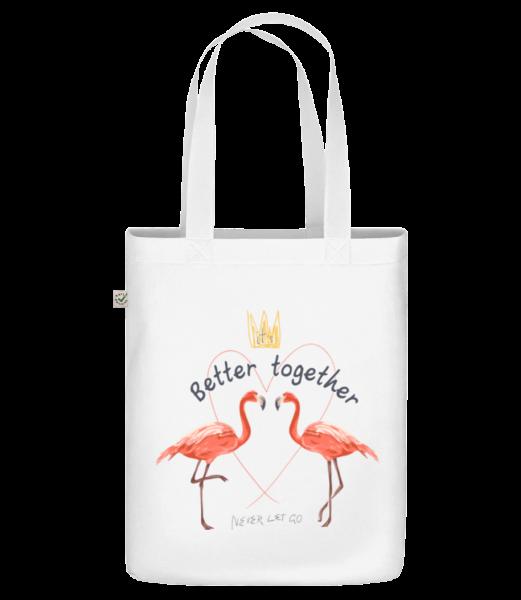 """Lepšia spolupráca Flamingos - Organická taška """"Earth Positive"""" - Biela - Predné"""