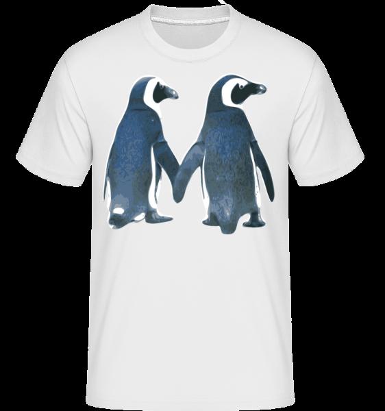 Penguin pár - Shirtinator tričko pre pánov - Biela - Predné