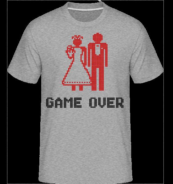 Game Over Sign Red - Shirtinator tričko pre pánov - Melírovo šedá - Predné