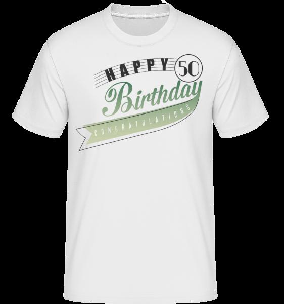Happy 50 Birthday -  Shirtinator tričko pre pánov - Biela - Predné
