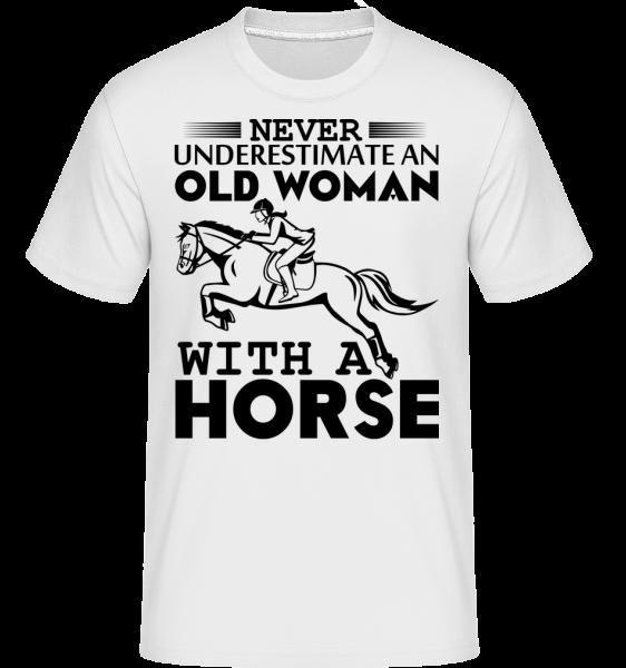 Stará žena s koňom -  Shirtinator tričko pre pánov - Biela - Predné