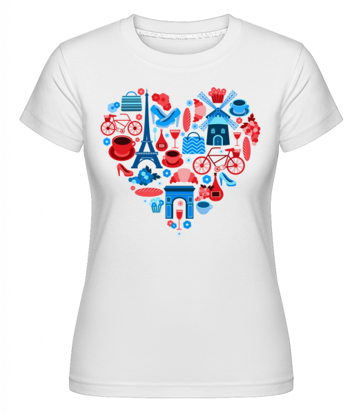 Paris Love Heart -  Shirtinator tričko pre dámy - Biela - Predné