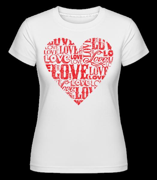 Love Heart Red -  Shirtinator tričko pre dámy - Biela - Predné