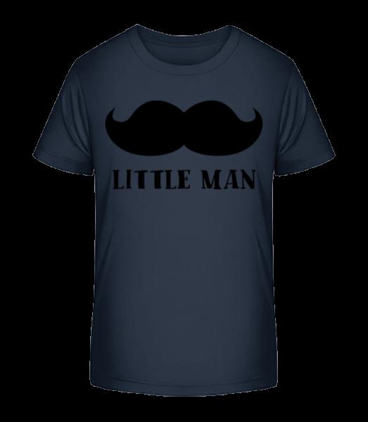 človiečik Fúzy - Detské Premium Bio tričko - Namornícka modrá - Predné