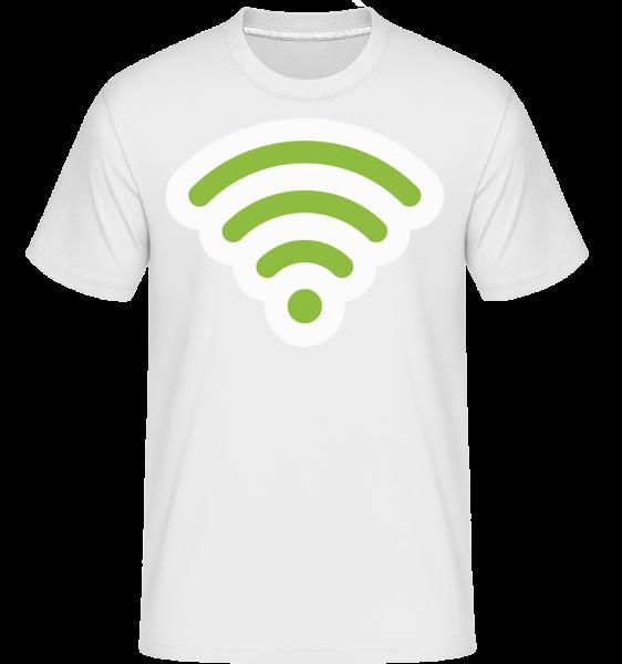 Wlan Icon Green -  Shirtinator tričko pre pánov - Biela - Predné