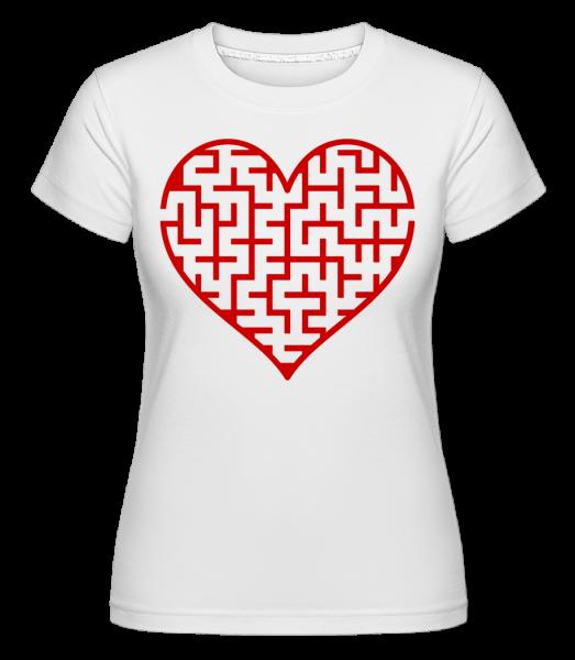 Heart Maze Red - Shirtinator tričko pre dámy - Biela - Predné