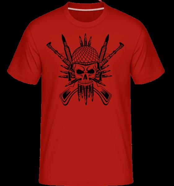 Vojak Skull Tattoo -  Shirtinator tričko pre pánov - Červená - Predné