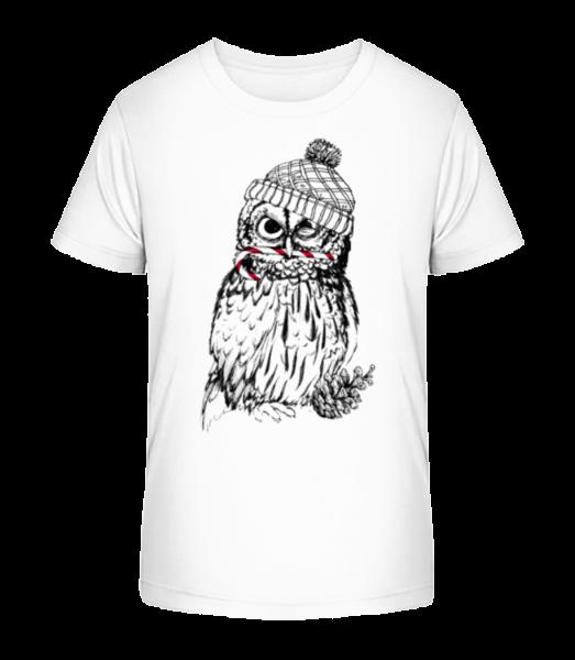 Christmas Owl - Detské Premium Bio tričko - Biela - Predné