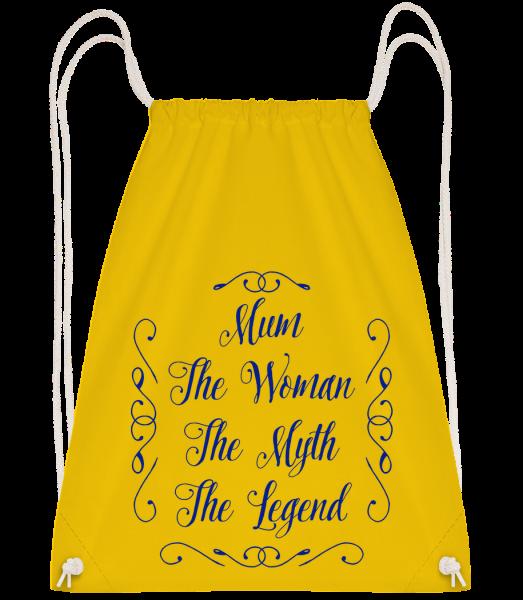 Mum - The Legend - Drawstring batoh so šnúrkami - Žltá - Predné