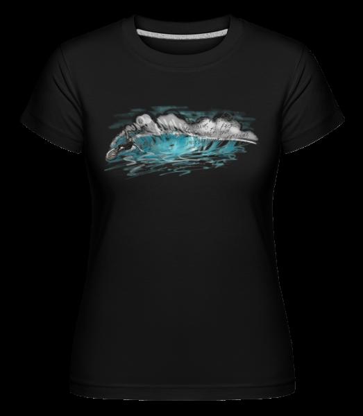 Surfer Wave - Shirtinator tričko pre dámy - Čierna - Predné