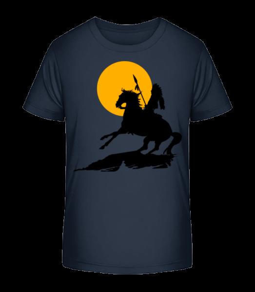 Knight Silhouette Sunset - Detské Premium Bio tričko - Namornícka modrá - Predné