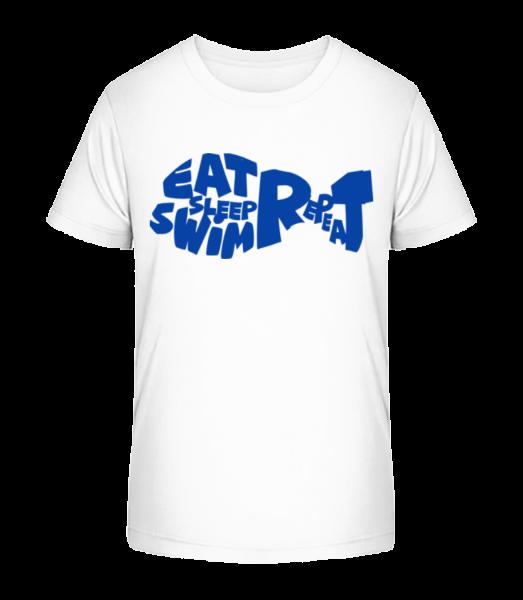 Jedzte Spánok Kúpanie - Detské Premium Bio tričko - Biela - Predné