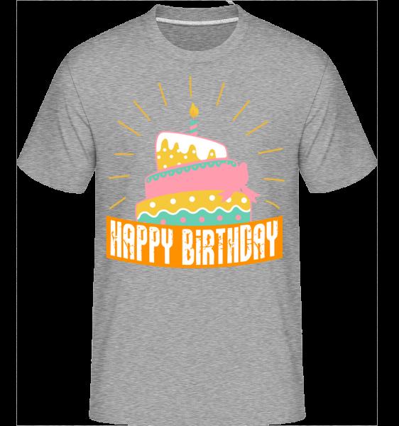 Happy Birthday Cake - Shirtinator tričko pre pánov - Melírovo šedá - Predné