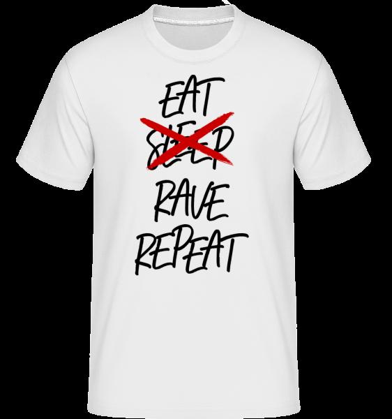 Jesť Rave Opakovať -  Shirtinator tričko pre pánov - Biela - Predné
