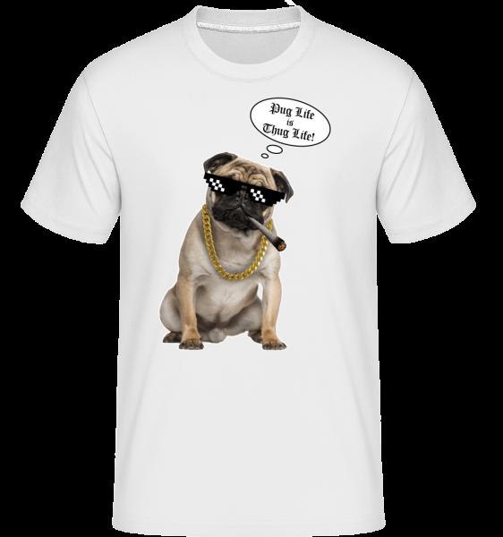 Pug Life Thug Life -  Shirtinator tričko pre pánov - Biela - Predné