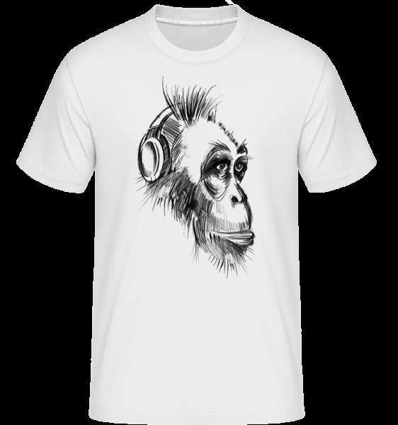 Opice so slúchadlami na ušiach -  Shirtinator tričko pre pánov - Biela - Predné