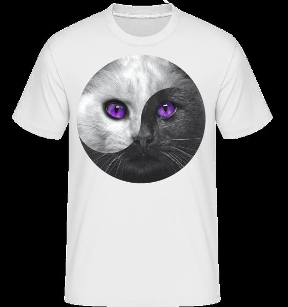 Jin a jang Cat -  Shirtinator tričko pre pánov - Biela - Predné