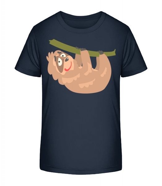 relaxačné lenivosť - Detské Premium Bio tričko - Namornícka modrá - Predné