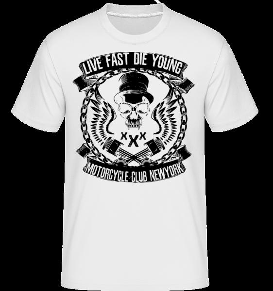Živé Fast Die Young Skull -  Shirtinator tričko pre pánov - Biela - Predné