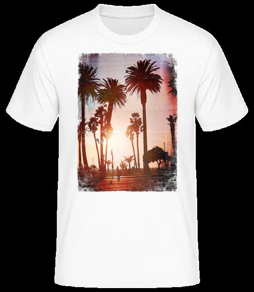 palm Promenade - Pánske basic tričko - Biela - Predné