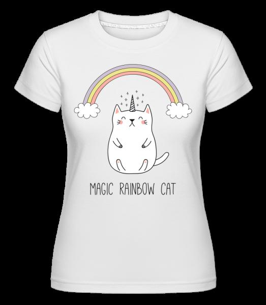 Mágia Dúha Cat -  Shirtinator tričko pre dámy - Biela - Predné