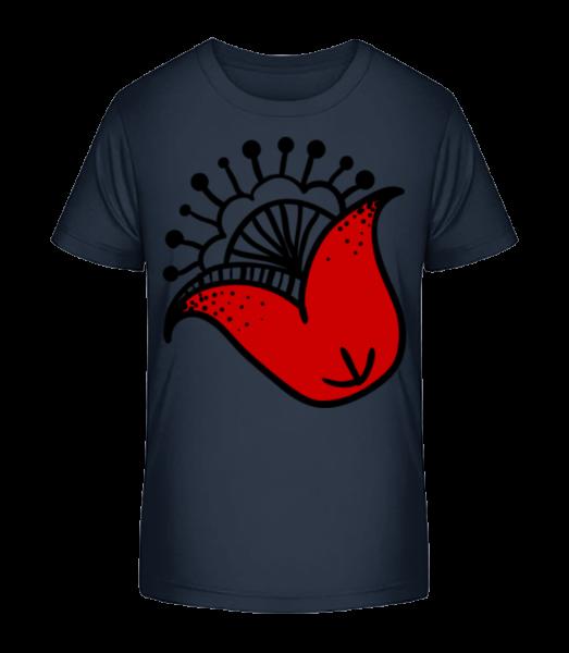 Flower Comic - Detské Premium Bio tričko - Namornícka modrá - Predné