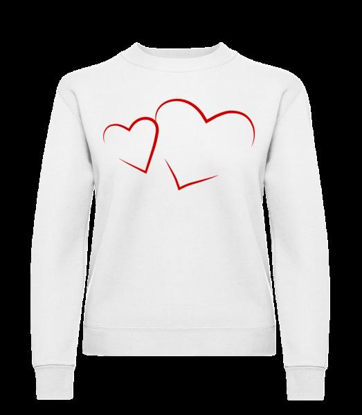 Hearts - Klasická mikina pre dámy sg - Biela - Predné