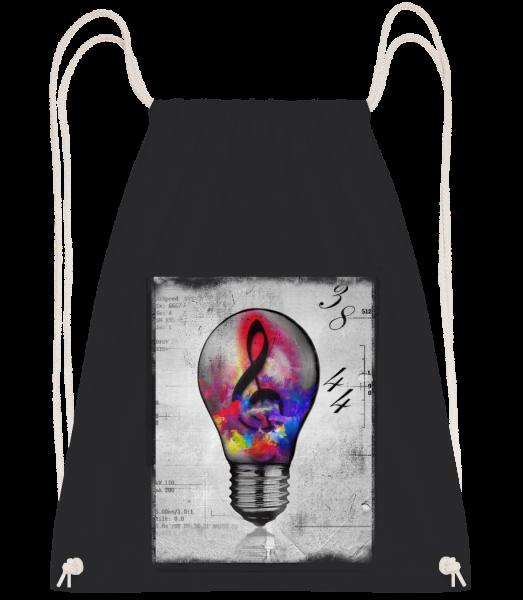 Colourful Lightbumb - Drawstring batoh so šnúrkami - Čierna1 - Predné