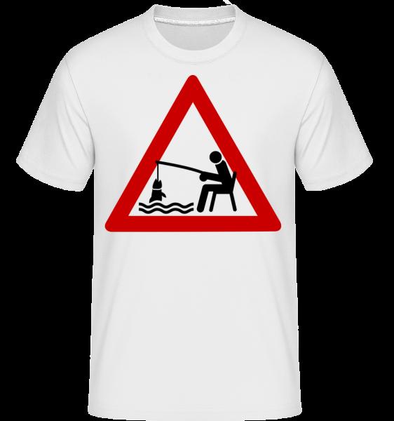 Fishing Warning Sign - Shirtinator tričko pre pánov - Biela - Predné