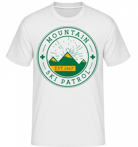 Mountain Ski Patrol znamenie - Shirtinator tričko pre pánov - Biela - Predné
