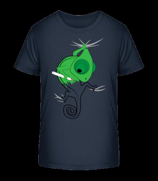 Chameleon Kids Comic - Detské Premium Bio tričko - Namornícka modrá - Predné