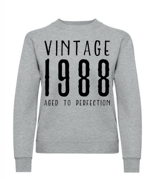 Vintage 1988 Aged To Perfection - Klasická mikina pre dámy sg - Melírovo šedá - Predné