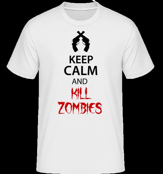 Zachovať pokoj zabiť zombie - Shirtinator tričko pre pánov - Biela - Predné