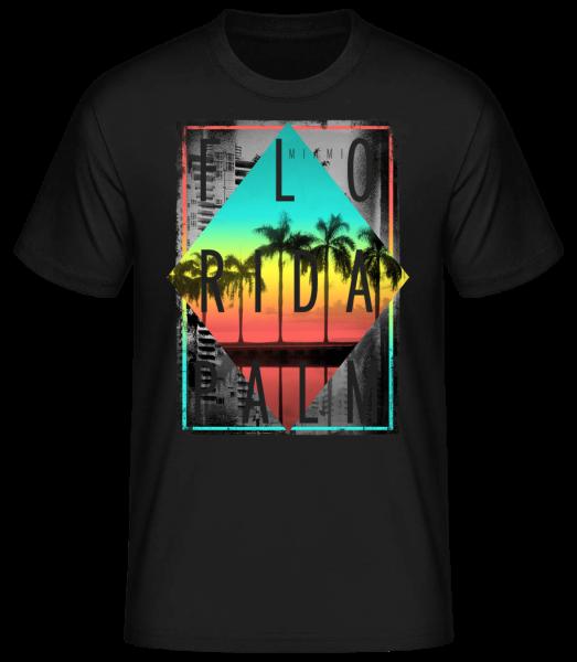 Florida Palm - Basic T-Shirt - Černá - Predné