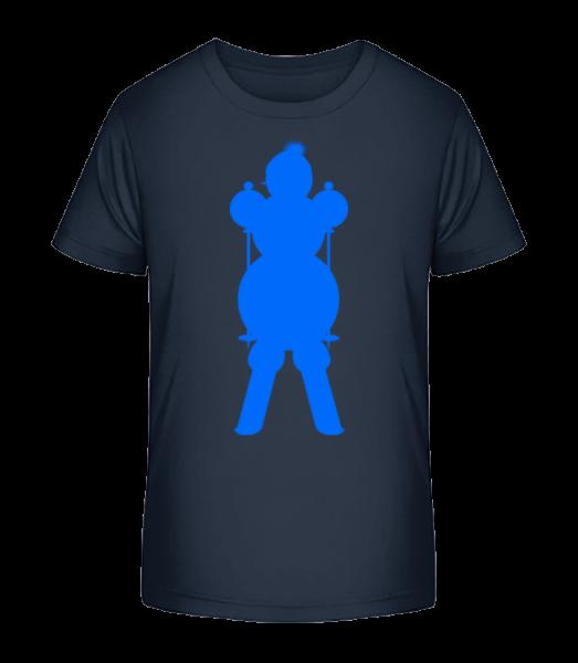 Ski Snowman Modrá - Detské Premium Bio tričko - Namornícka modrá - Predné