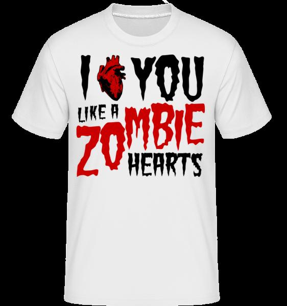 Mám ťa rád ako zombie Hearts -  Shirtinator tričko pre pánov - Biela - Predné