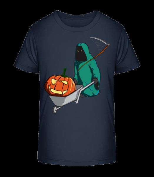 Halloween smrtka - Detské Premium Bio tričko - Namornícka modrá - Predné