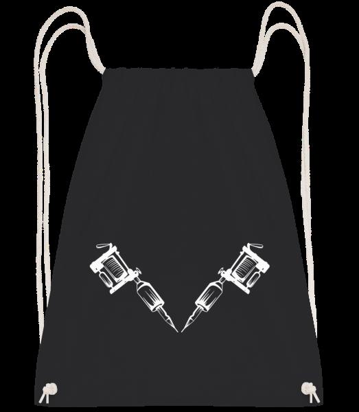 Tattoo Machine Tattoo - Drawstring batoh so šnúrkami - Čierna1 - Predné