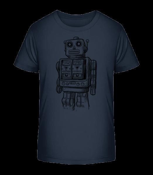 Detská Robot - Detské Premium Bio tričko - Namornícka modrá - Predné