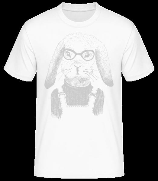 Hipster Rabbit - Pánske basic tričko - Biela - Predné