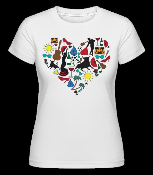 španielsko Heart -  Shirtinator tričko pre dámy - Biela - Predné