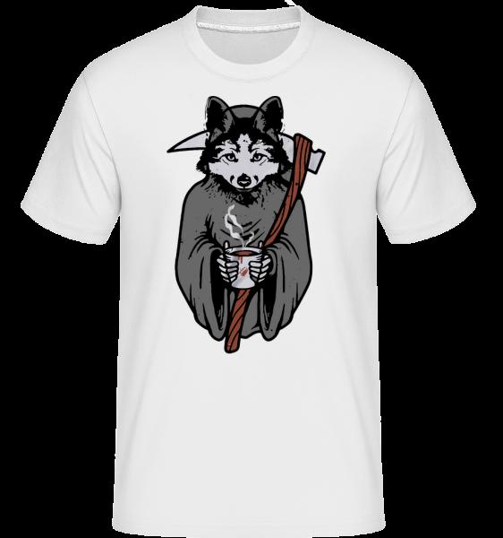 Vlk sa Scythe Gray - Shirtinator tričko pre pánov - Biela - Predné