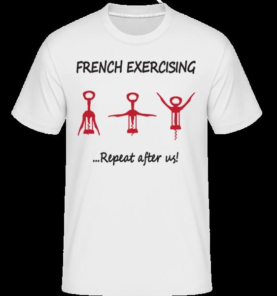 francúzsky Cvičenie -  Shirtinator tričko pre pánov - Biela - Predné