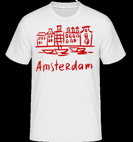 Amsterdam v čínskom štýle -  Shirtinator tričko pre pánov - Biela - Predné