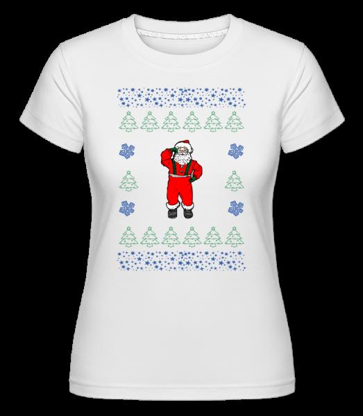 Santa pletenie vzor -  Shirtinator tričko pre dámy - Biela - Predné