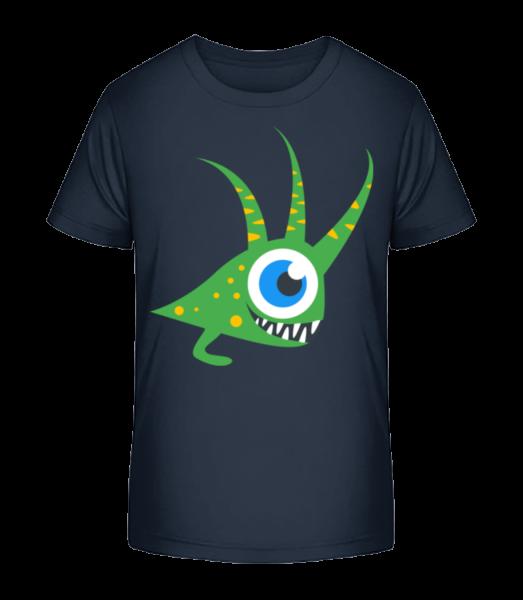 funny monštier - Detské Premium Bio tričko - Namornícka modrá - Predné
