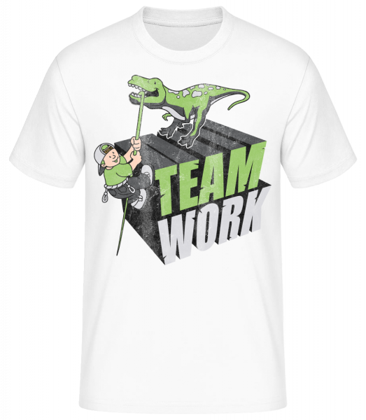 Dinosaur Teamwork - Basic T-Shirt - Bílá - Predné