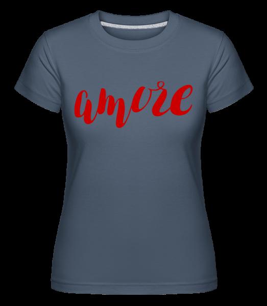Amore Logo Red - Shirtinator tričko pre dámy - Džínsovina - Predné